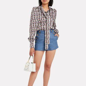 NWT Intermix Zimmerman Daisy Tie Neck Blouse Small